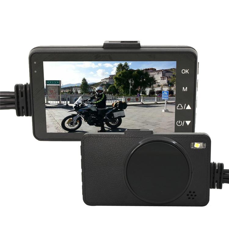 多言語ミニオートバイ防水 dvr ダッシュカムとフロントカメラとバックカメラ