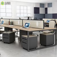 Cheap price fashional simple kd structure high quality modern office furniture 6 person workstation