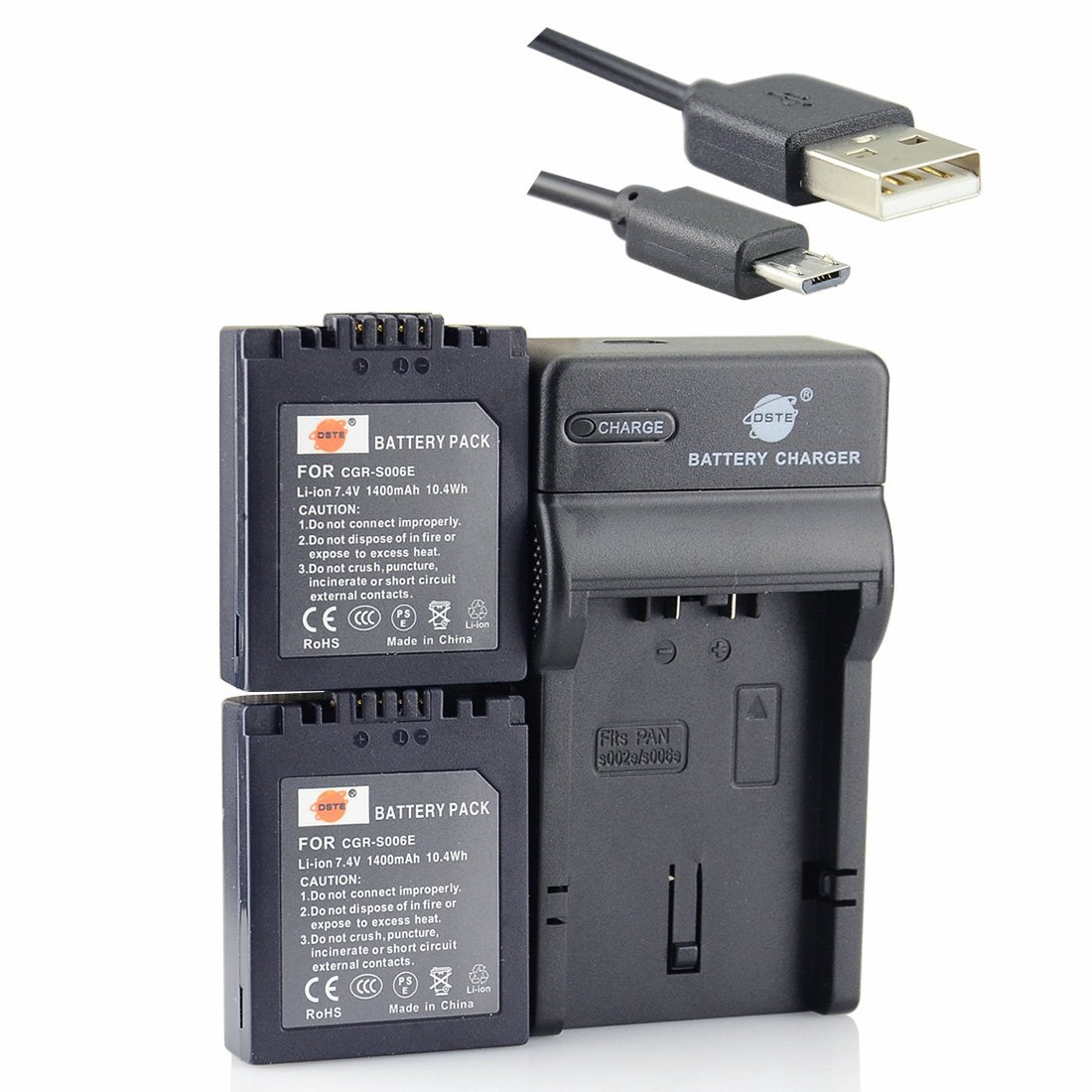 DSTE CGR-S006E Li-ion Battery (2-Pack) and Micro USB Charger Suit for Panasonic CGR-S006, CGR-S006A1B, CGA-S006, DMW-BMA7