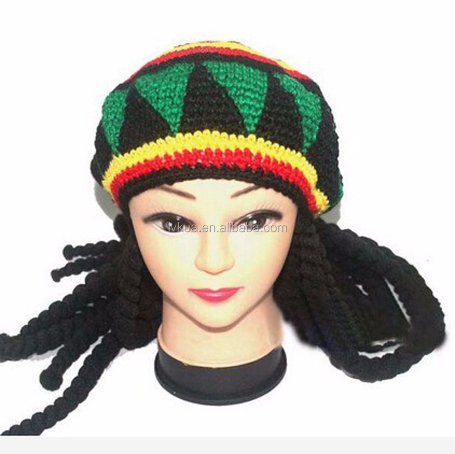 Jamaican Crochet Beanie Hat With Rasta Dreadlocks African Hair Wraps  Braiding - Buy Funny Long Braid Cute Girl Winter Hat 57b7ab1551b