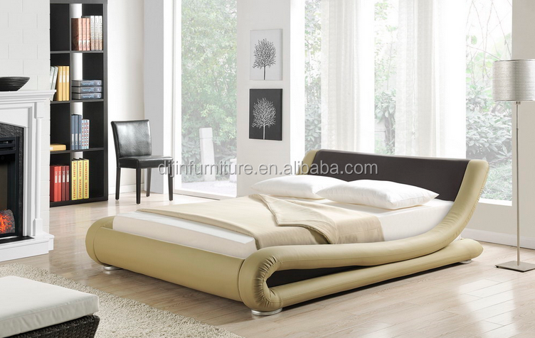 Elegant Low Lying Bed Frame PU Leather Faux Leather Bed
