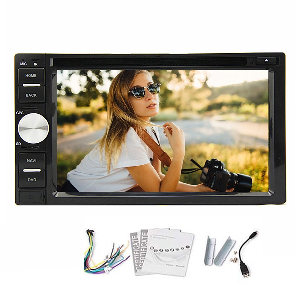 In Dash Two Double Din 6.2 INCH Car DVD Player Stereo Audio HD Touchscreen LCD Monitor with DVD/CD/MP3/MP4/USB/SD/AM/FM/RDS/Aux In,Bluetooth and HD:800*480