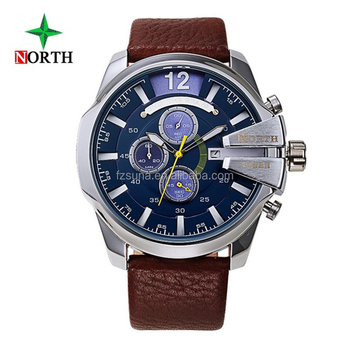 37920bd65cd Presente perfeito para o Norte Dos Homens De Couro Ocasional De Quartzo  Auto Data Relógios Desportivos