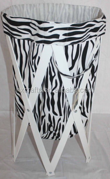 Zebra Pattern Collipsible Laundry Clothes Basket Net