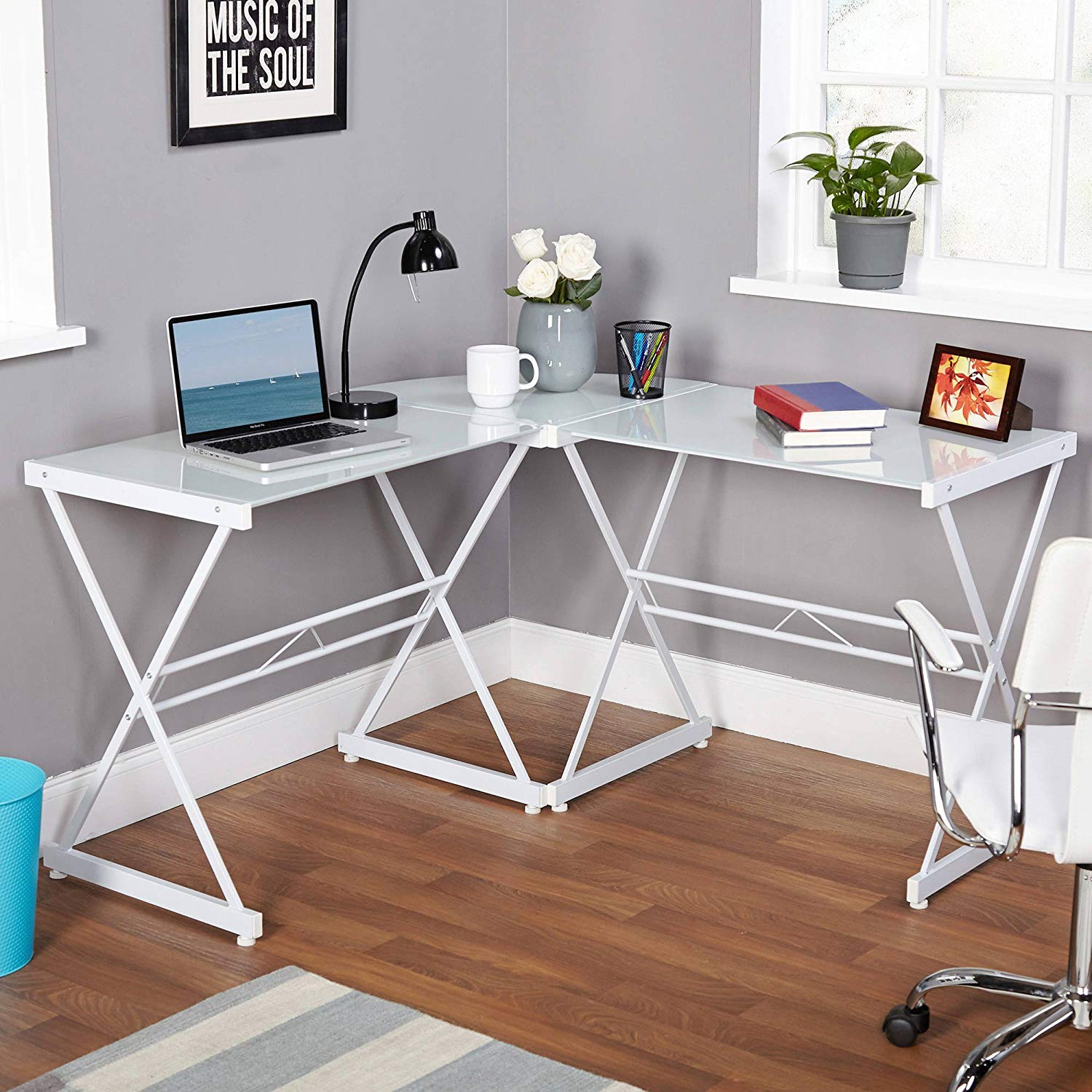 White Metal and Glass L-shaped Computer Desk, Home, Office Furniture, Contemporary, Made with Tempered Glass, Corner Unit, Open Space, Bundle with Our Expert Guide with Tips for Home Arrangement