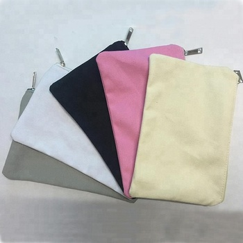 Free sample customized size 12oz colored canvas cotton pouch canvas zipper bag makeup bag cosmetic with custom logo printing