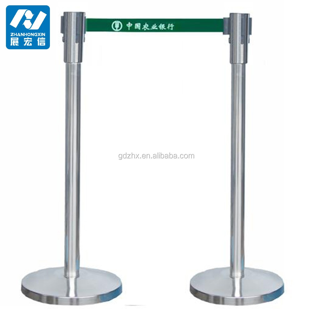 crowd control barrier/retractable queue pole/stainless steel railing stand