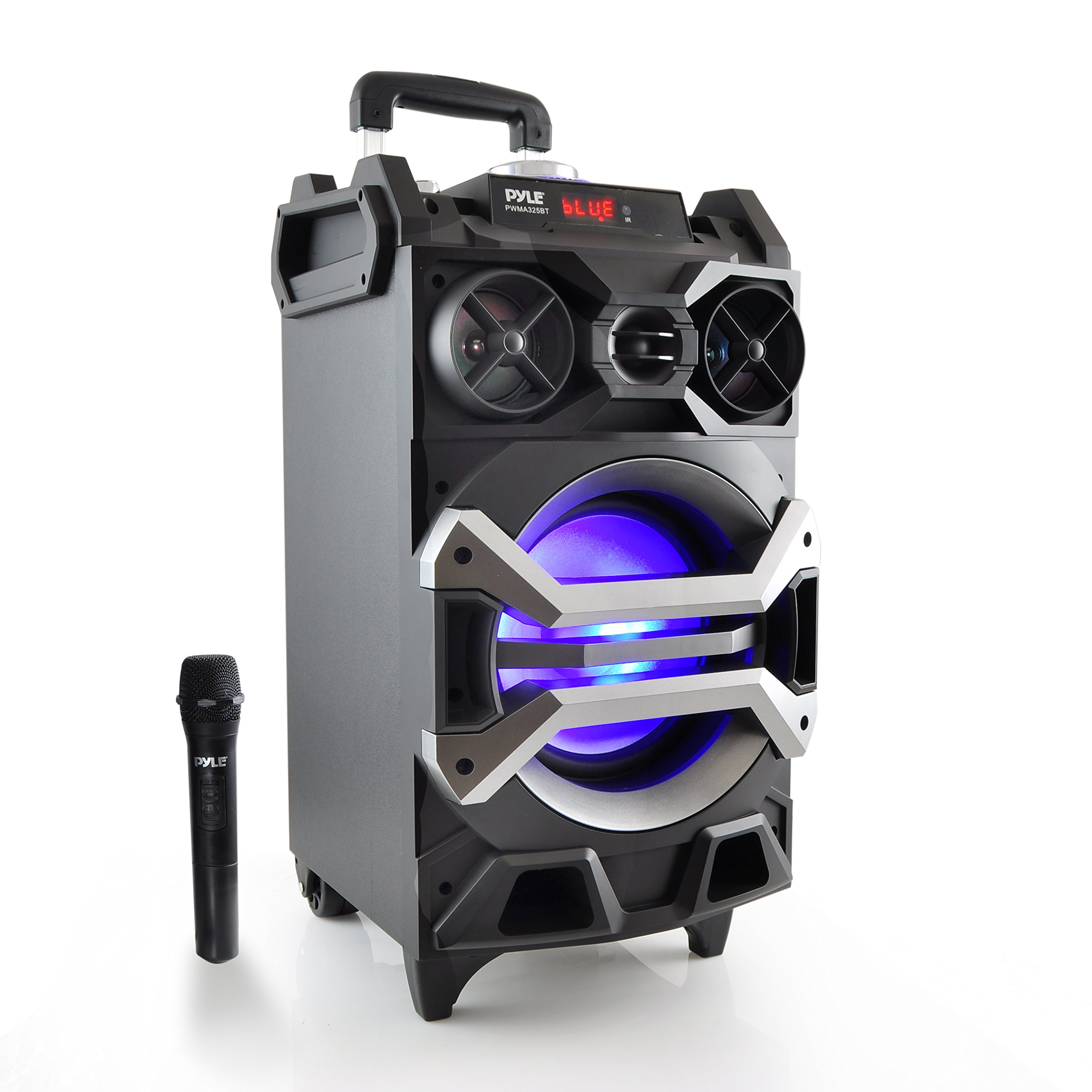 """Pyle 500 Watt Outdoor Portable Bluetooth Karaoke Speaker System - PA Stereo with 8"""" Subwoofer, DJ Lights Rechargeable Battery Wireless Microphone, Recording Ability, MP3/USB/SD/FM Radio - PWMA325BT"""