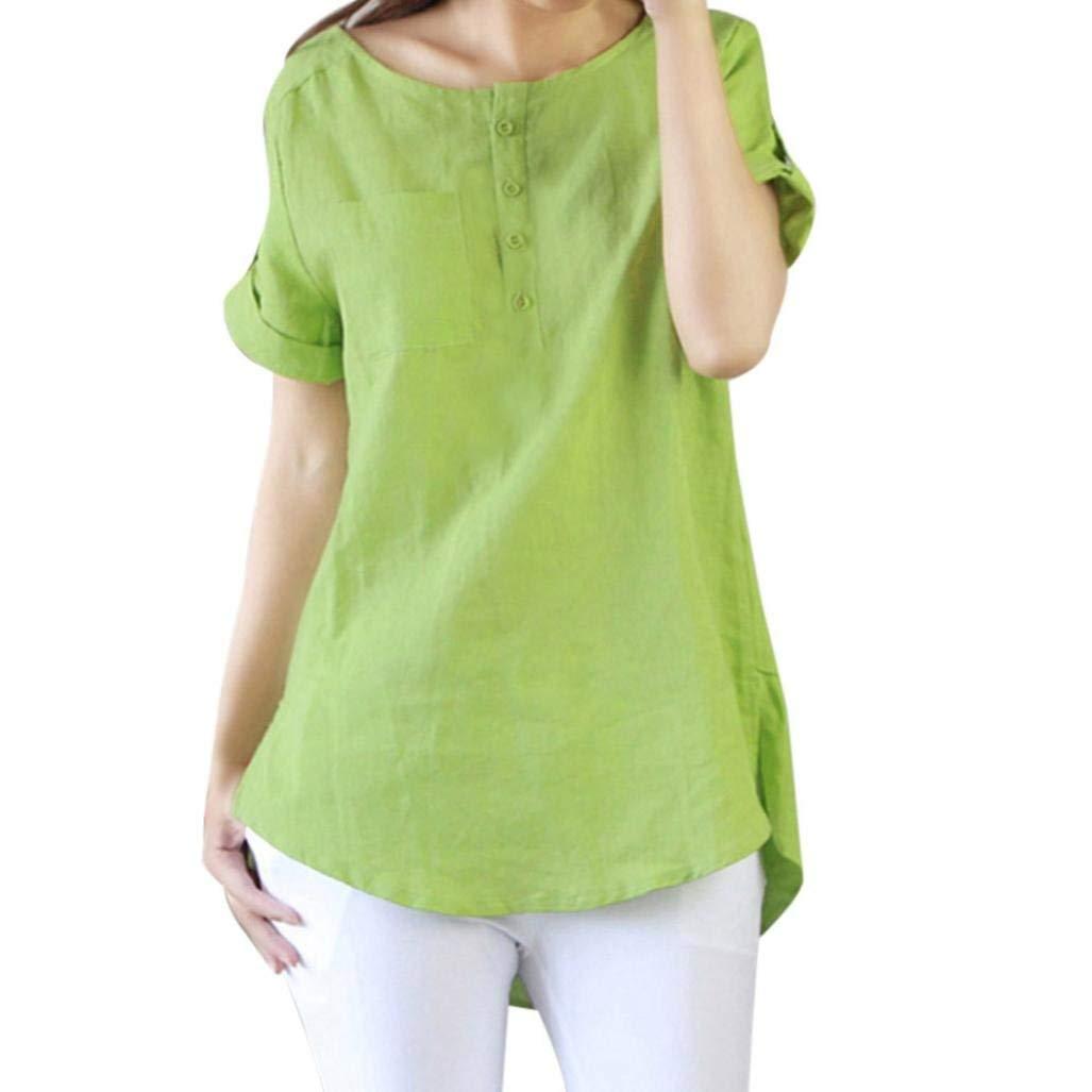 BCDshop Women New Summer Short Sleeve T Shirt Casual Loose Cotton Linen Blouse Tops