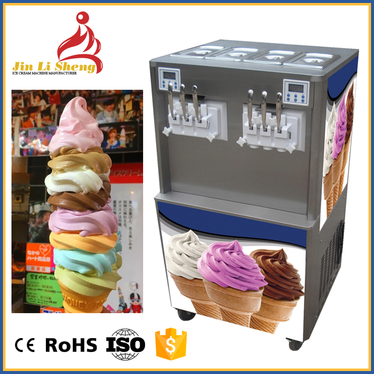 Continuous Dispensing Big Capacity 60 Liter 6 Flavor Commercial Frozen Yogurt Soft Serve Ice Cream Maker Making Machine For Sale