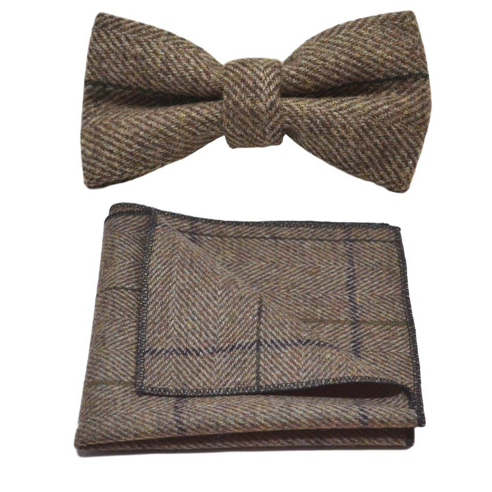 1aa32baef239 Get Quotations · Luxury Peanut Brown Herringbone Check Bow Tie & Pocket  Square Set, Tweed
