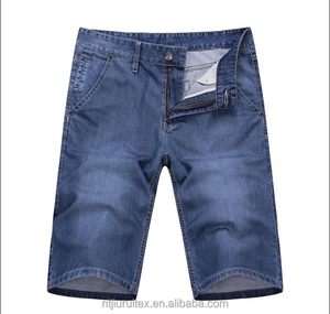 Basic Five-Pocket Construction Zip Fly 100% Cotton Denim Shorts For Mens