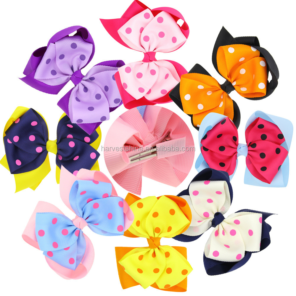 Fashion 8 colors polka dot multilayer hair bow clips for kids