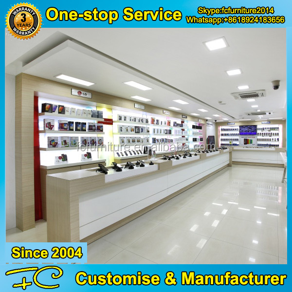 Mobile phone shop interior design wooden mobile phone display counter