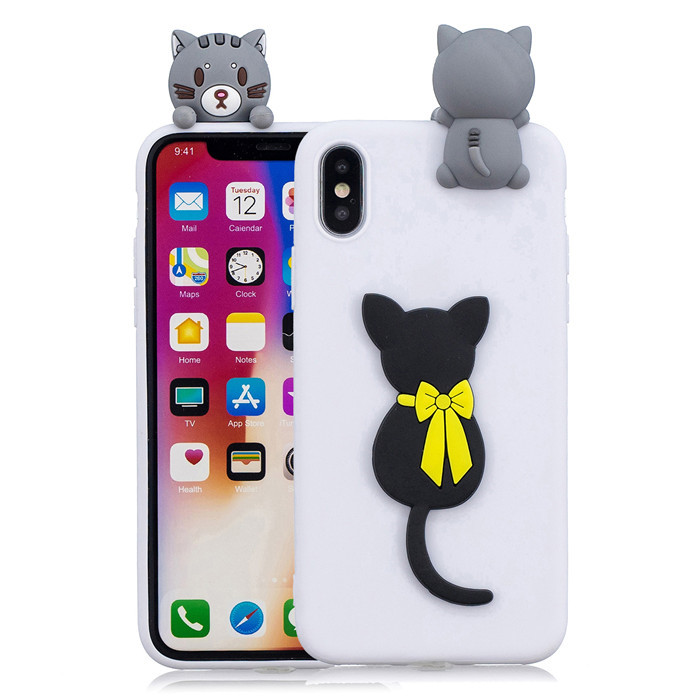Cute white phone cover case cat animal mobile back cover for iPhone X cases