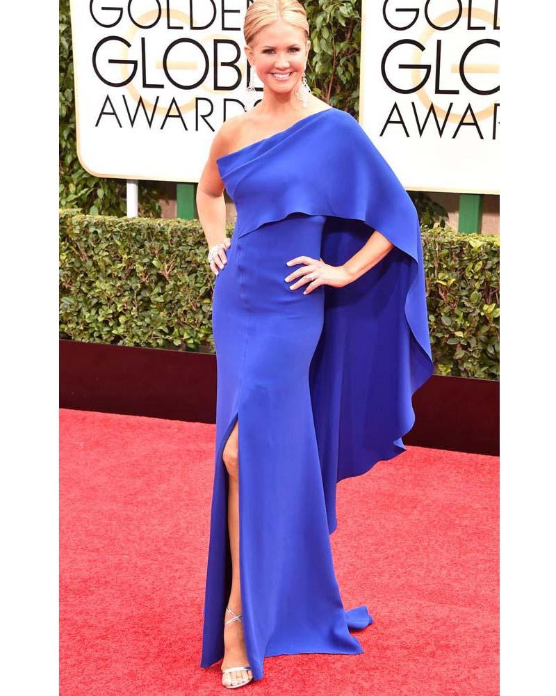 72nd Golden Globe Mermaid Celebrity Dresses Nancy O'Dell Chiffon Sashes Side Slit Floor-Length Red Carpet Dresses
