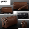 Fashion leather wash bag cow skin leather wash bag for men and women