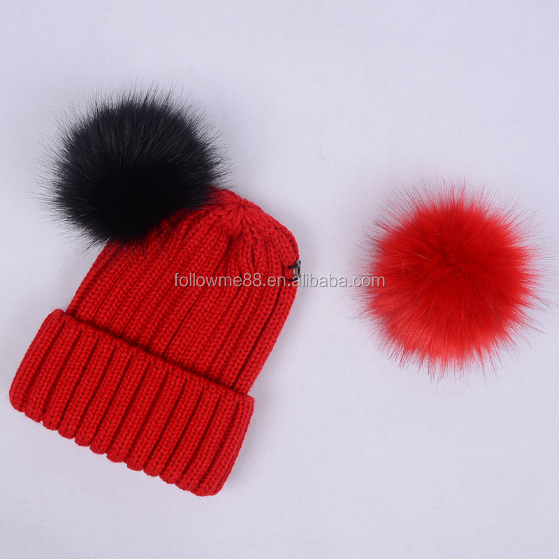 NEW WOMEN FAUX FUR BALL HAT POM POM FAKE FUR BEANIE  BOBBLE KNITTED WARM HAT