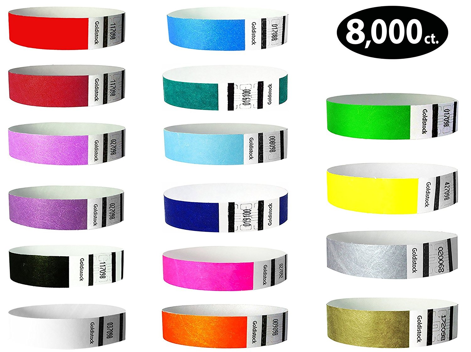 "Goldistock 3/4"" Tyvek Wristbands Max Value 16 Color Variey Pack- 8,000 Ct. (500/EA)- Green, Blue (2 Colors), Yellow, Red(2), Orange, Pink, Purple(2), Aqua, Teal, Metallic Gold & Silver, Black, White"