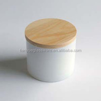 3 Wicks White Glass Candle Jar With Nature Wood Lid
