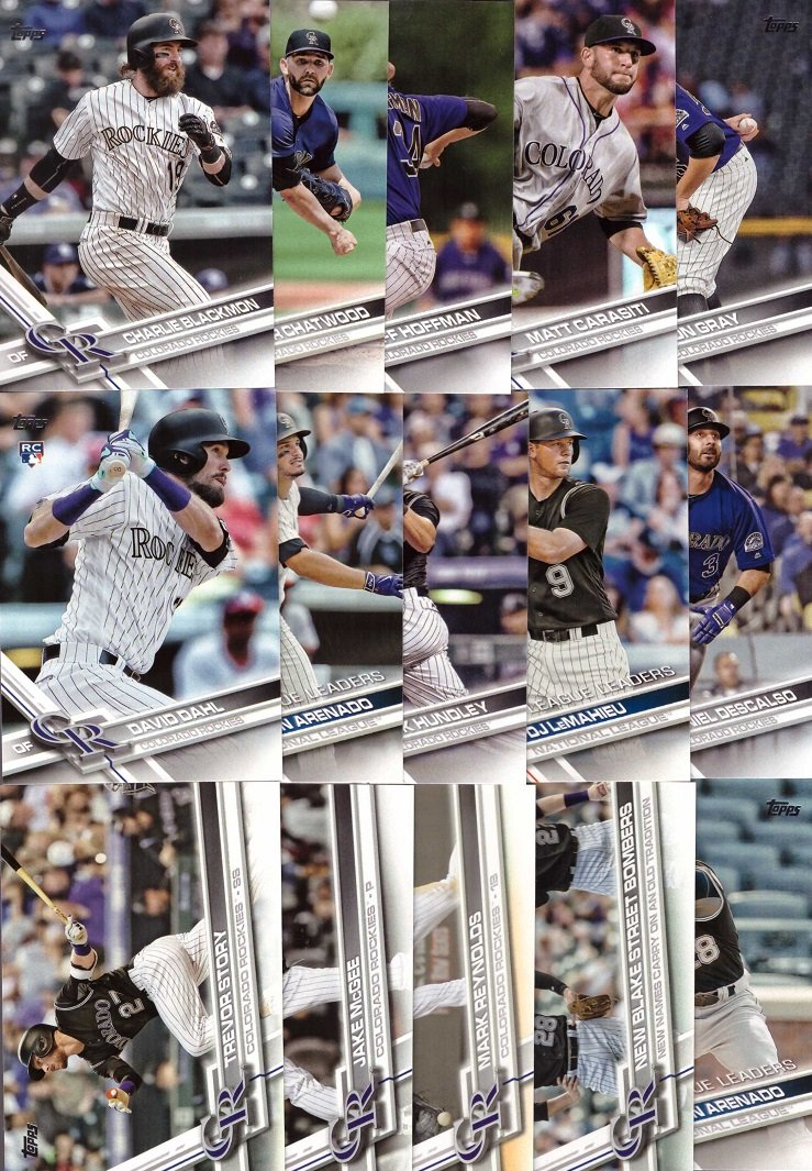 2017 Topps Series 1 Colorado Rockies Baseball Card Team Set - 15 Card Set - Includes Nolan Arenado, Trevor Story, Charlie Blackmon, David Dahl, Jon Gray, and more!