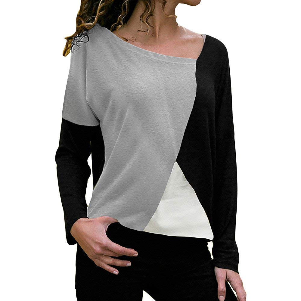 Women's Tunic Tops,Casual Patchwork Color Block O-Neck Long Sleeve Pullover T-Shirt Blouse