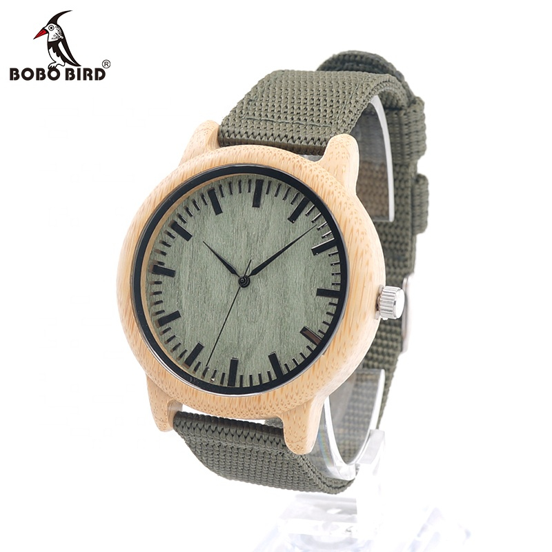 BOBO BIRD Mens Natural Wood Bamboo Watches Wooden Watch Green Dial Nylon Strap, As the picture or customized