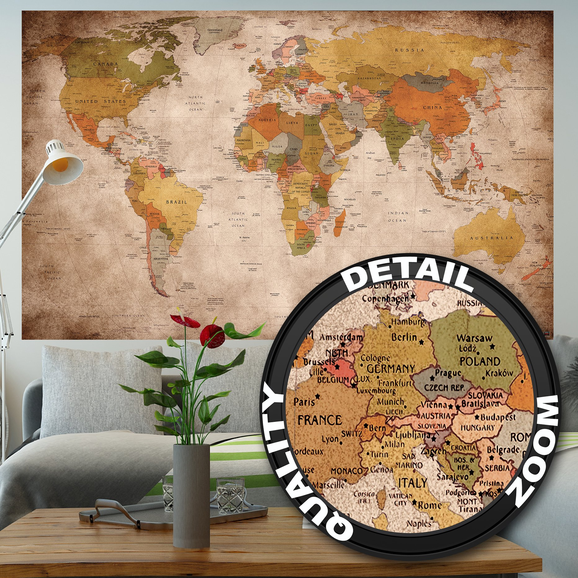 Buy great art xxl poster world map photo wallpaper vintage retro great art xxl poster world map photo wallpaper vintage retro motif xxl world map mural wall art decoration 55 inch x 394 inch gumiabroncs Choice Image