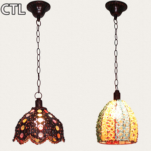 Thai retro Iron pendant lights Vintage crystal decorative dining chandelier