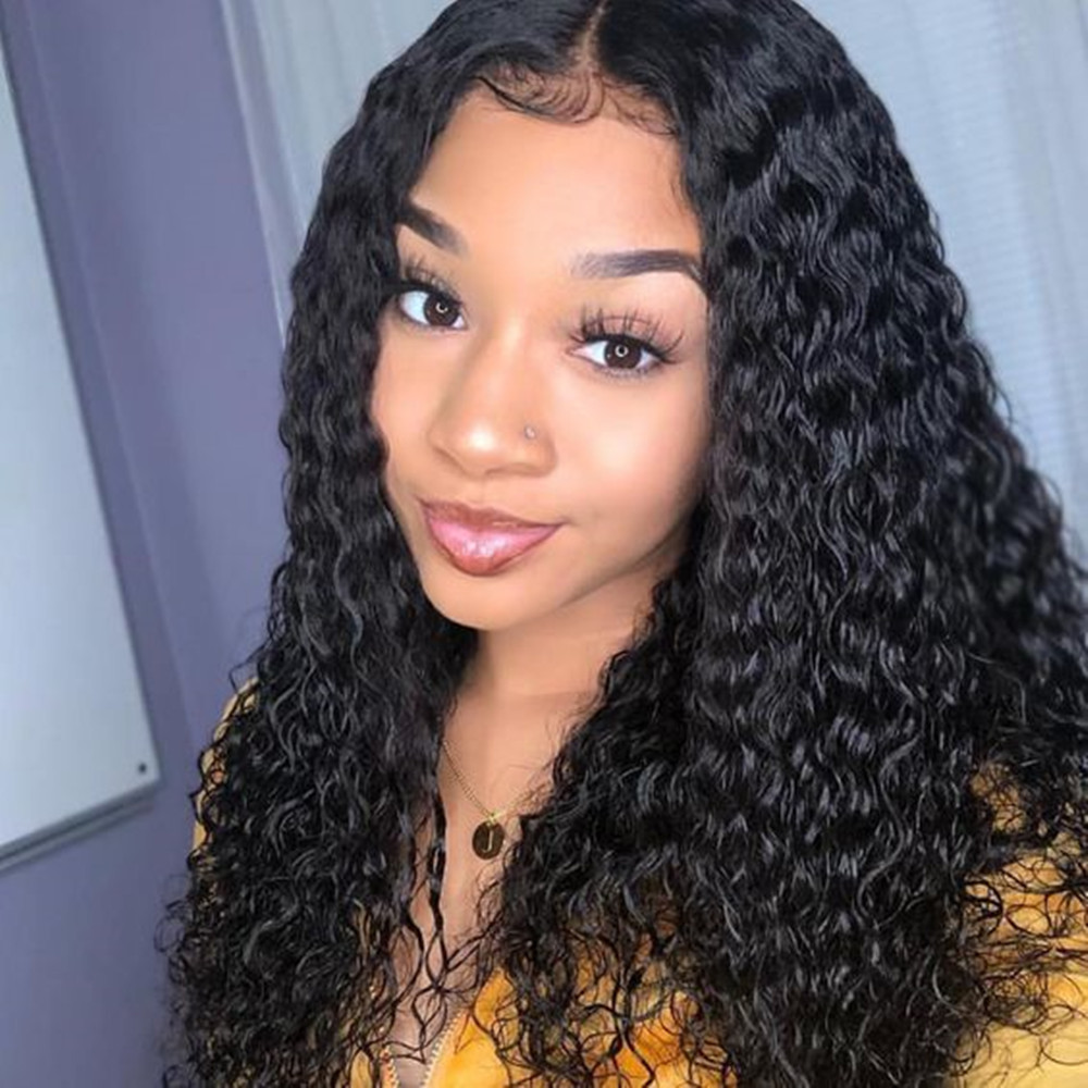 360 Lace Front Wigs Deep Brazilian Glue less Full Lace Frontal Wig Plucked Curly with Baby Hair 180% Density Available