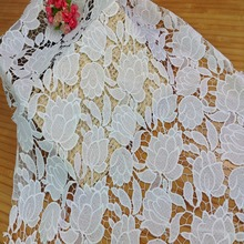 the 100% polyester chemical 3d embroidered swiss lace fabric