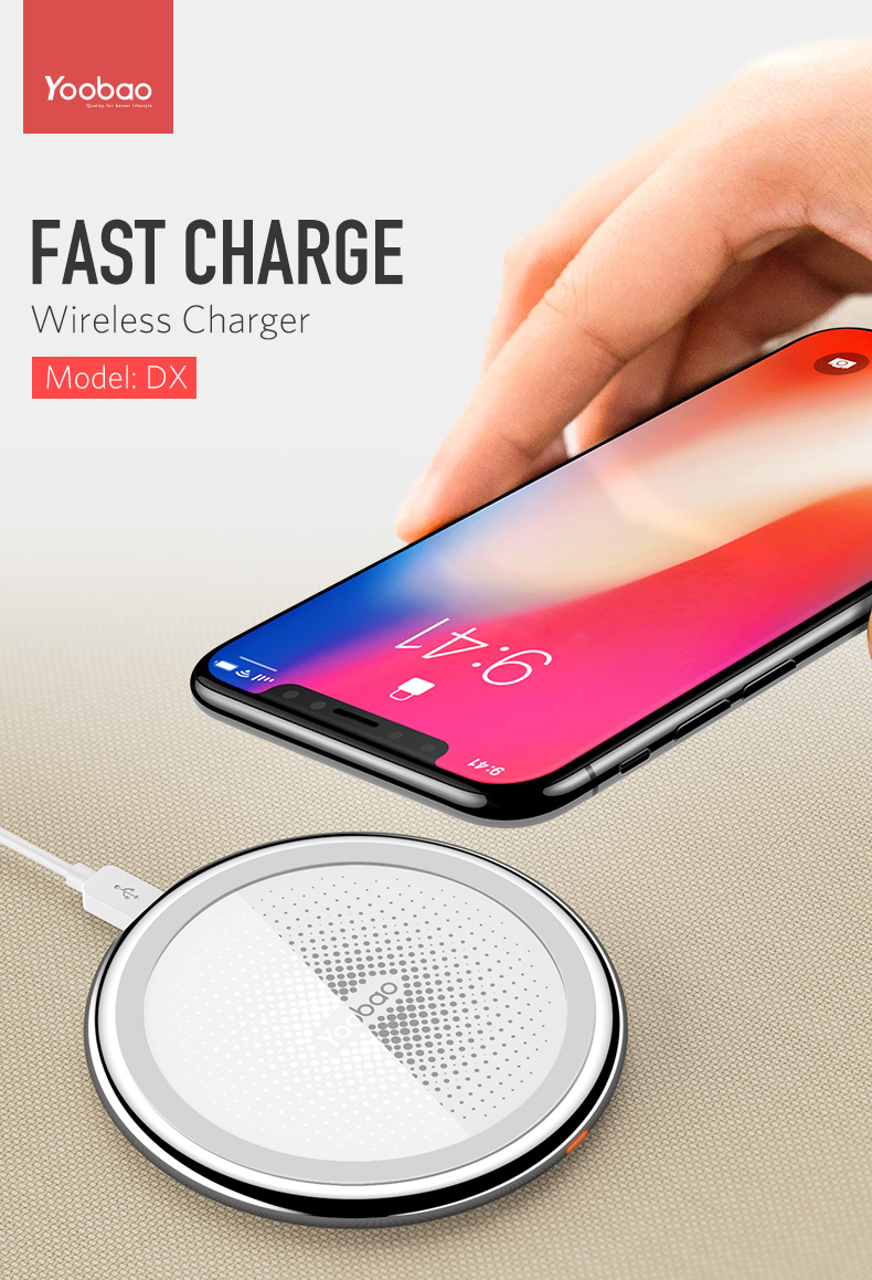 Yoobao DX Wireless Charger Pad Wireless Power Charging for Iphone X 8 Samsung LG Nokia Moto HTC