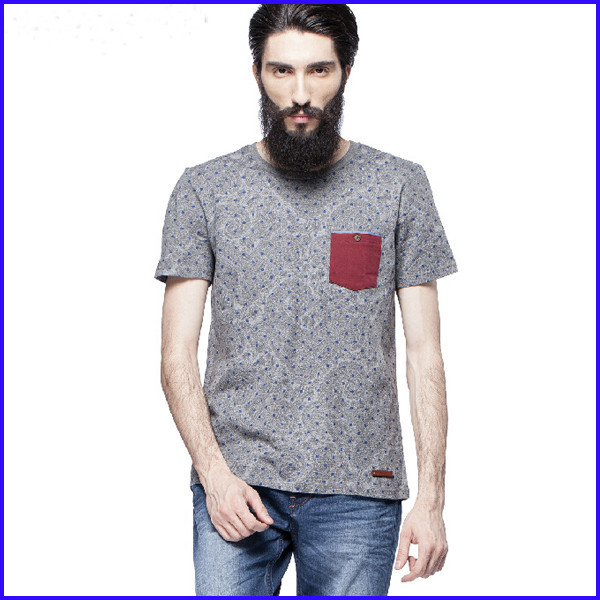 fashion dotted sublimation printing short sleeve t shirt with pocket for men