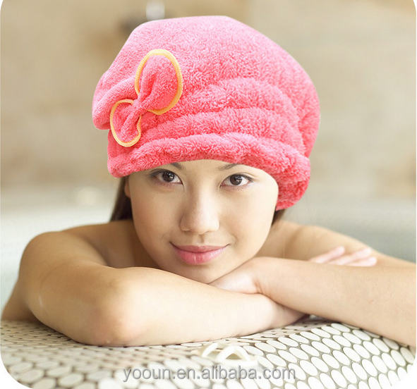 Home bath series brand quality terry double side blushed microfiber hair towel