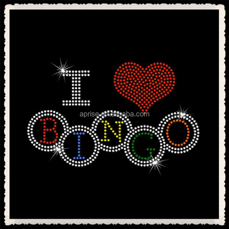 Aprise - Crystal Bling Design I Love Bingo Rhinestone Hotfix transfer iron on Motif