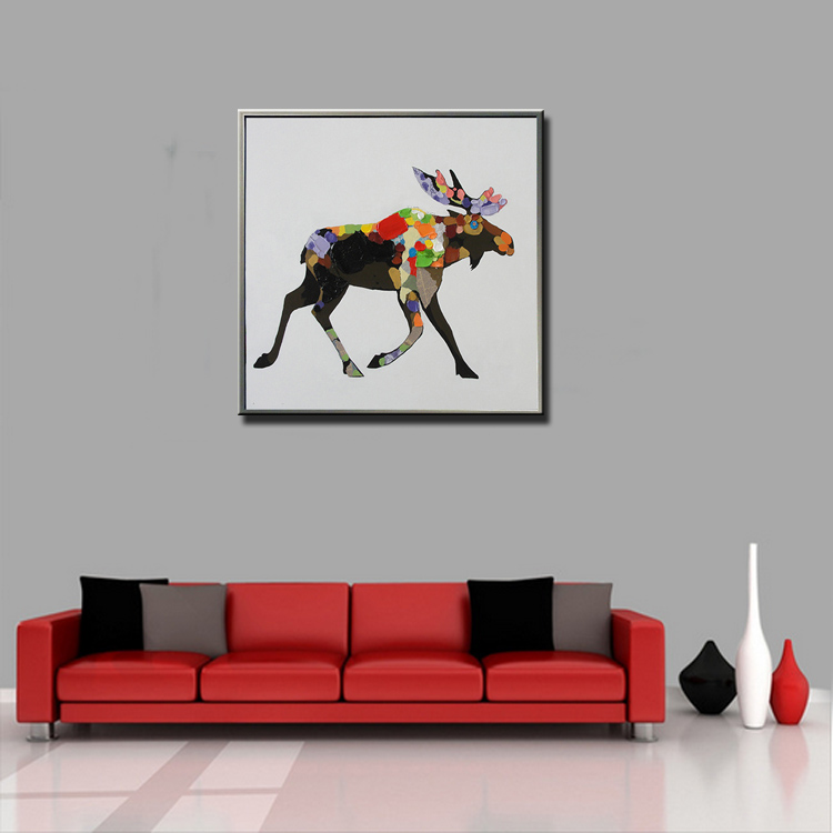 Modern Hotel Decoration Canvas Wall Art Paintings Abstract Cute Animal Oil Paintings