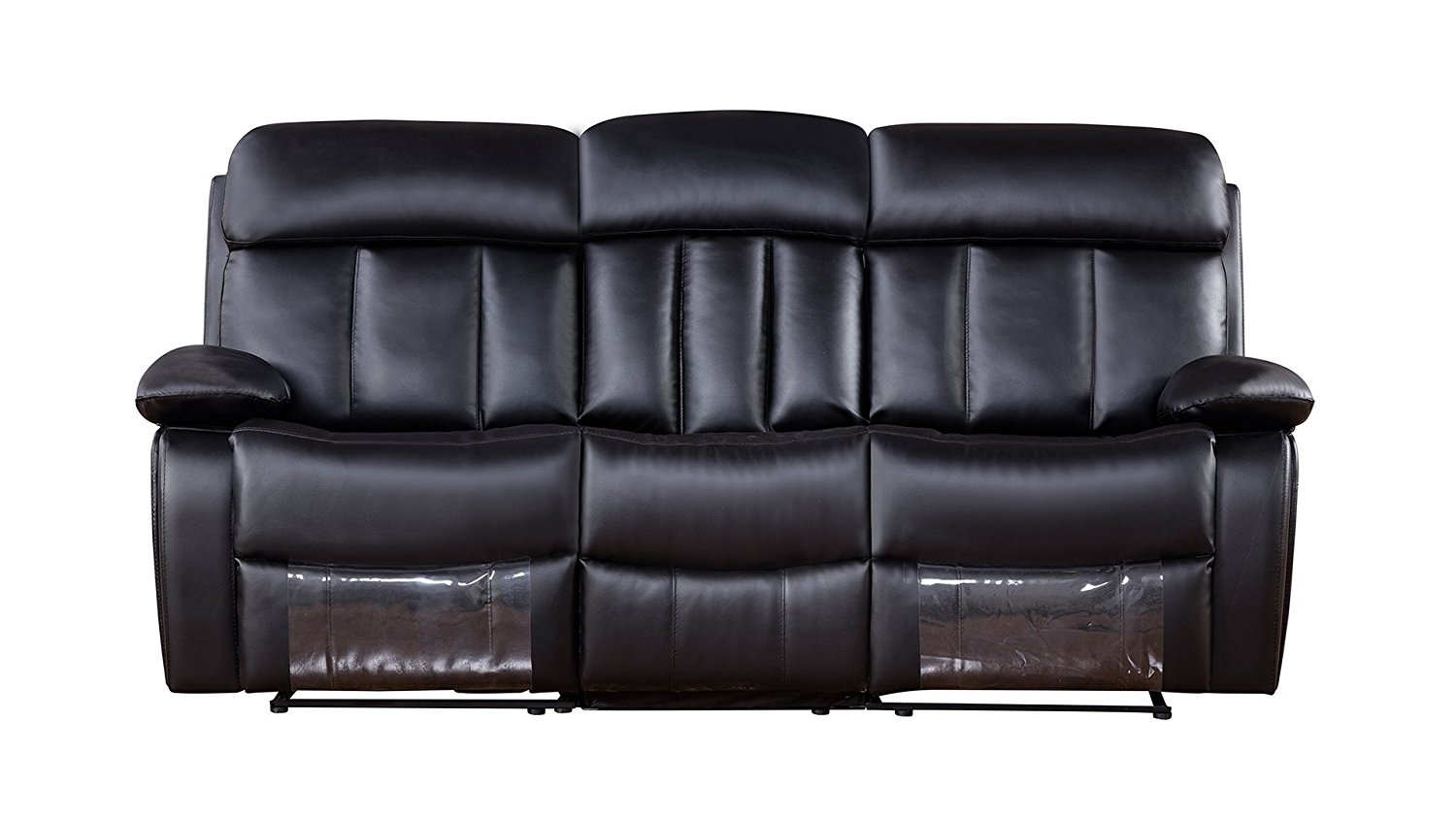 American Eagle Furniture Dunbar Collection Leather Reclining Sofa with Pillow Top Armrests, Black