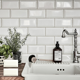 "Bathroom Kitchen Beveled 3"" x 6"" Ceramic Subway Wall Tile in White"