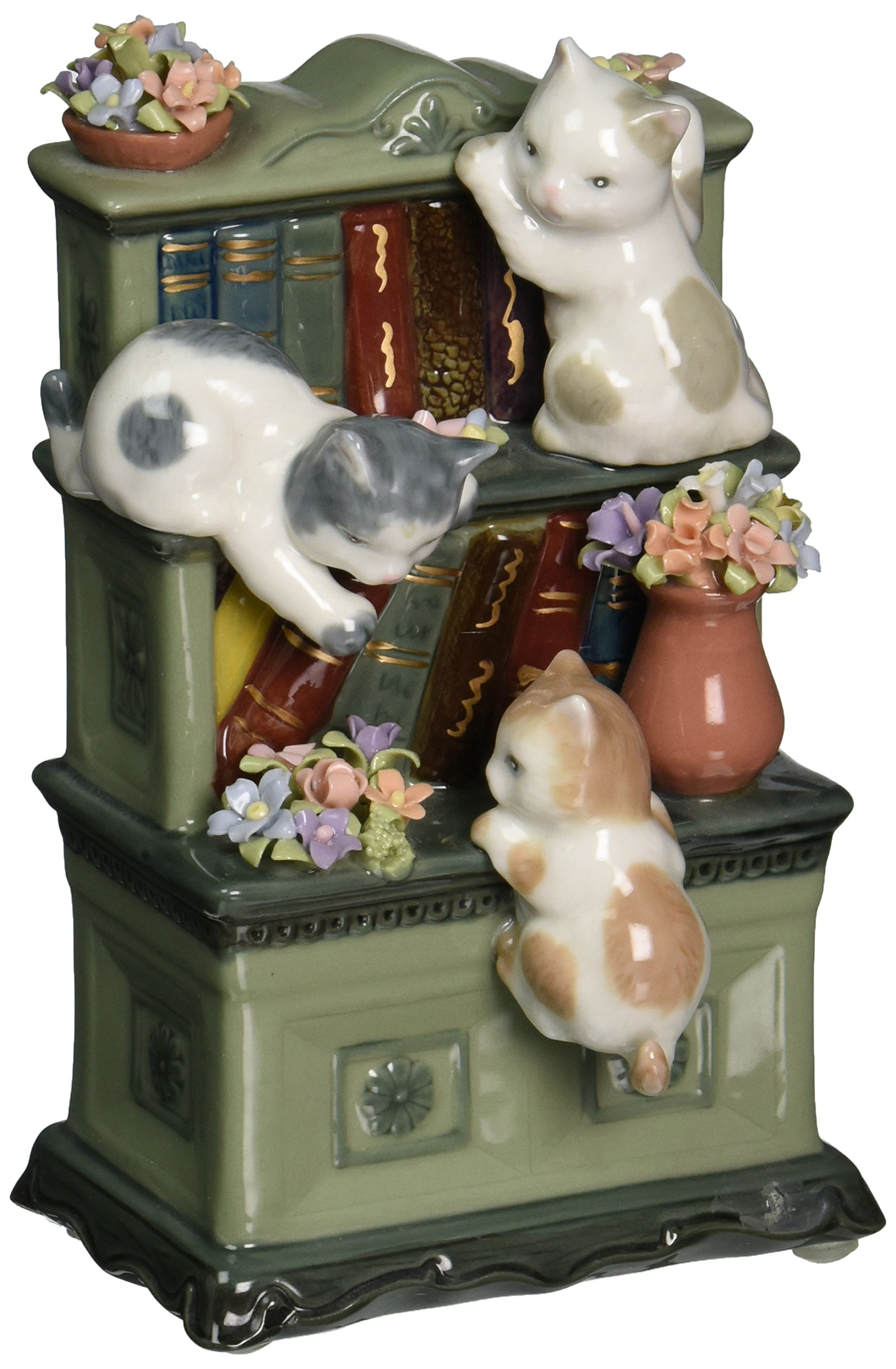 Cosmos 80095 Fine Porcelain Catch Me If You Can Cat Musical Figurine, 6-Inch