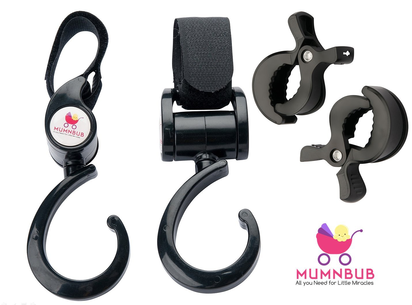 MumnBub Stroller Hook - 2 Pack (Black) Multi-Purpose Heavy Duty Buggy Clips for Mommy - Universal Fit Perfect Pram Accessories for Hanging Diaper bag, Shopping bag, Groceries -Includes 2 Stroller Pegs
