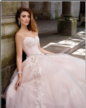 2017 Latest Fashion Strapless Lace Liqued Ball Gown European Style Wedding Dress