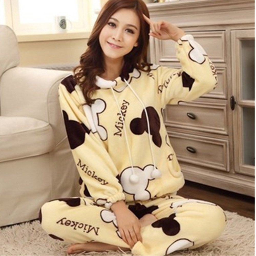 508488a18b Get Quotations · KAKA(TM) Womens Girls  Warm Cute Winter Home Soft Cartoon  Flannel Pajamas Sets