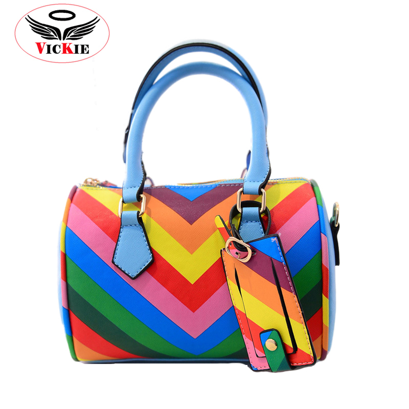 Boston Style Women Shoulder Bags Candy Lady Tote Rainbow Leather Female Messenger Bag Casual Striped Handbags Bolso Femenino T06