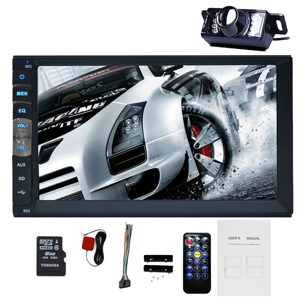 free rear camera+Hot sale double in dash 2 din 7 Inch Car MP5 Player car stereo autoradio Bluetooth GPS navigation Car Radio am/fm Radio Remote Control HD Touch Screen AUX audio video Player USB/SD