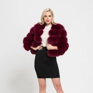 2018 Women's Coats Real Natural Fox Fur 5 Rows Coat High Quality Outwear Winter Thick Warm Fashion Crop Jacket