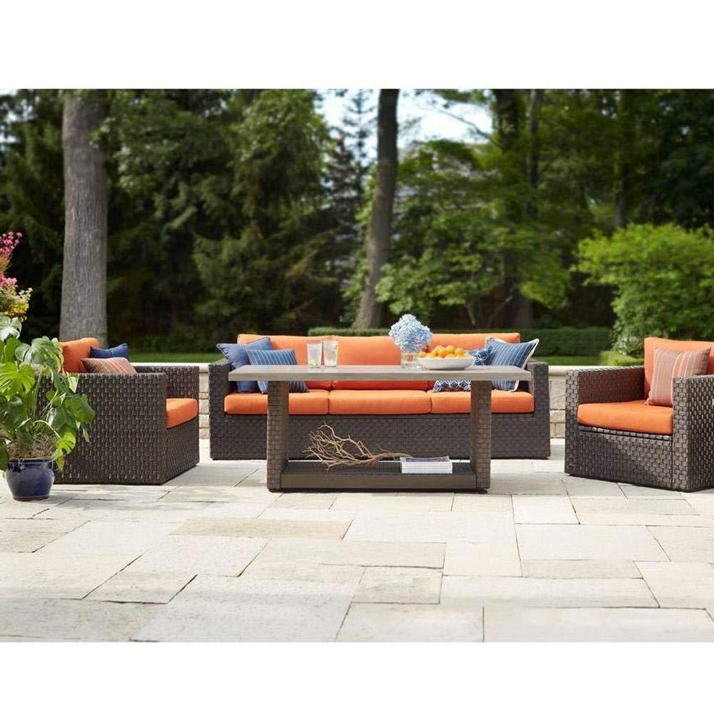 Hampton Bay Moreno Valley 4-Piece Brown Resin Wicker Patio Seating Set with Sunbrella Canvas Rust Cushions