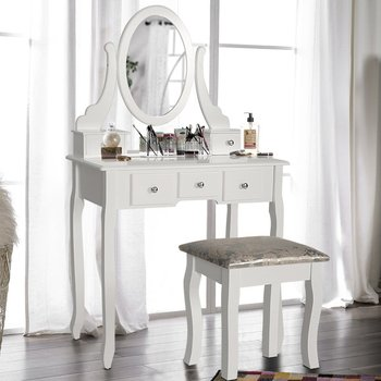 Wooden White Dressing Table With Chair And Five Drawers For Bedroom Designs Cupboard