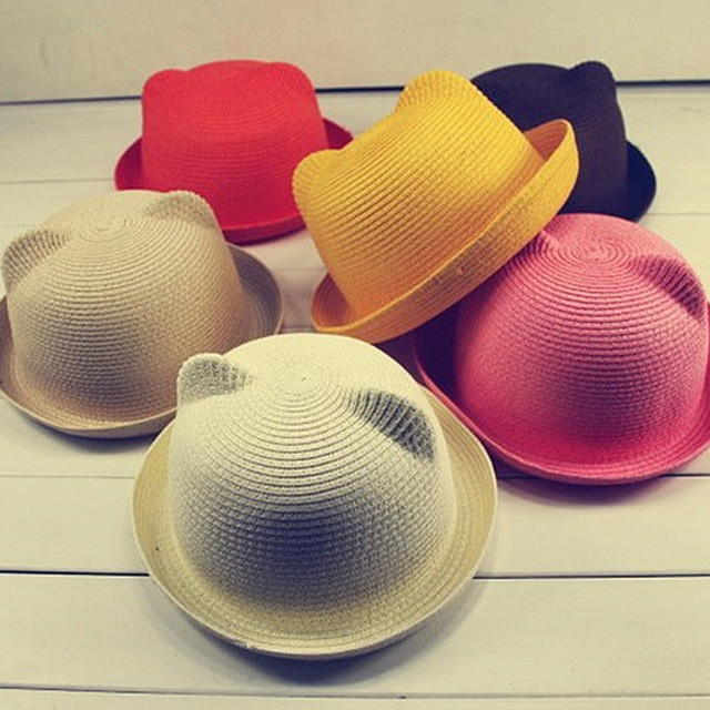 Fashion Ears Straw Hats Kids Beach Caps Baby Hats For Girls Bucket Hat Boys Cap  Children Sun Summer Cap a7f50eb7260