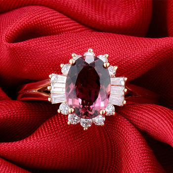 Genuine Gold Rings Tourmaline Solid 18kt Rose Gold Natural Diamond