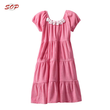 New Design Short Sleeves Girls Pink Tiered Frocks Children Frock